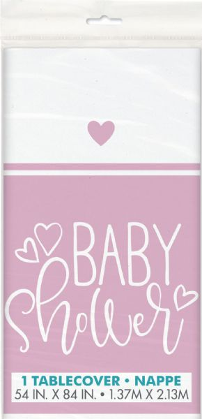 Pink Hearts Baby Shower Plastic Tablecover